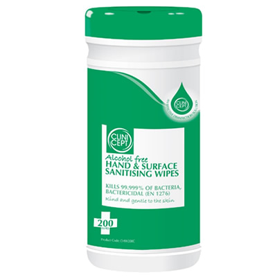 Alcohol free hand & surface sanitising wipes
