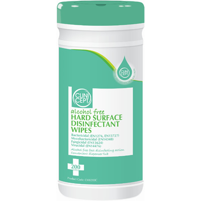 Alcohol free hard surface disinfectant wipes