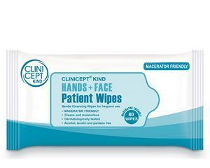 Macerator friendly hand & face wipes