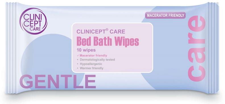 Macerator friendly bed bath wipes